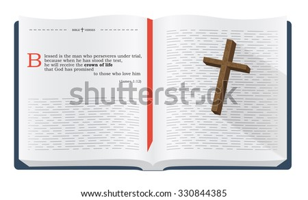 Best Bible verses to remember - James 1:12. Holy scripture inspirational sayings for Bible studies and Christian websites, illustration isolated over white background - stock photo