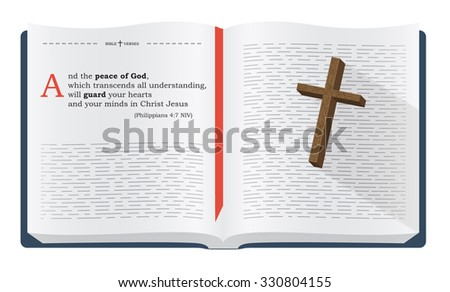 Best Bible verses to remember - Philippians 4:7 NIV. Holy scripture inspirational sayings for Bible studies and Christian websites, illustration isolated over white background - stock photo