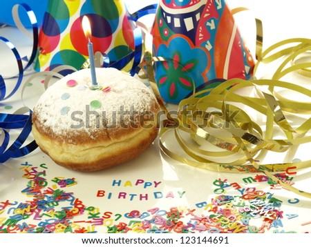 Best birthday wishes with donut and candle - stock photo