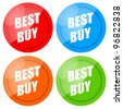 Best Buy glossy label set isolated on white background - stock photo