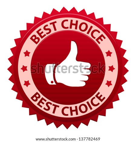 Best choice red label  - icon isolated on white background - stock photo