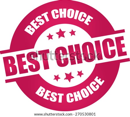 Best choice rubber stamp with stars pink color on white background.