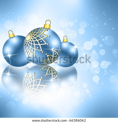 best Christmas blue balls background - stock photo