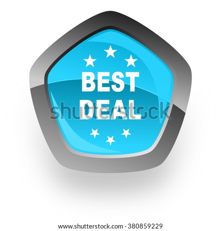 best deal blue metallic chrome web pentagon glossy icon