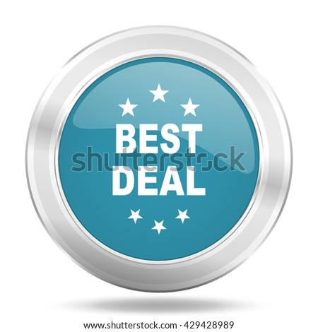 best deal icon, blue round metallic glossy button, web and mobile app design illustration