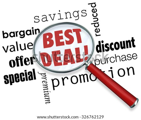 Best Deal words under a magnifying glass with other terms like savings, bargain, value, offer, special, premium, discount, purchase, promotion - stock photo