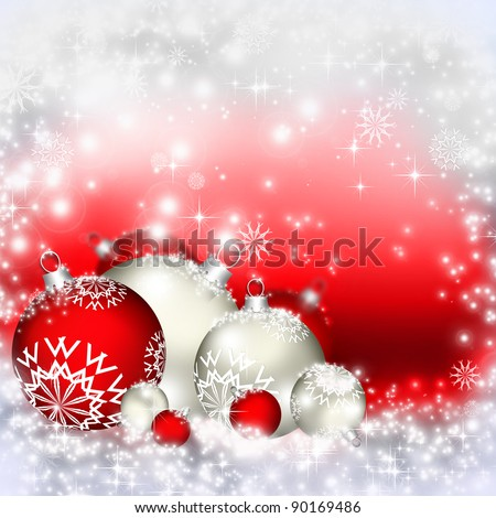 Best elegant Christmas background with red baubles - stock photo