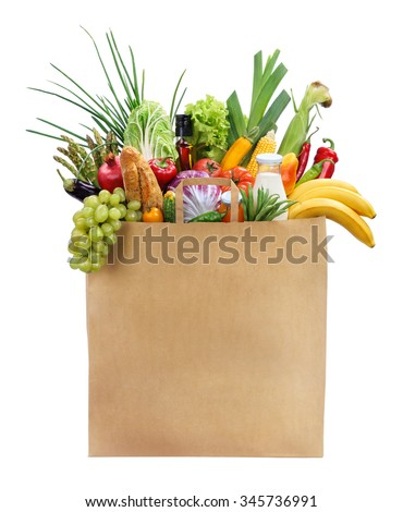 Best Foods For Women / studio photography of brown grocery bag with fruits, vegetables, bread, bottled beverages - isolated over white background