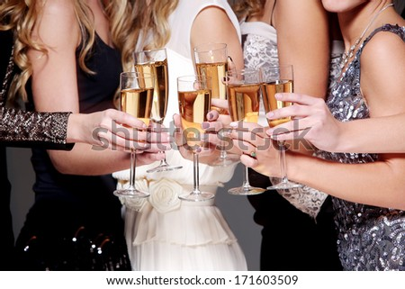 Best friends have new year party celebration - stock photo