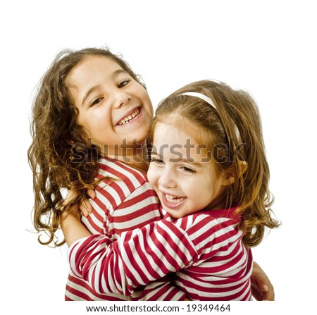 best friends hugging isolated on a white