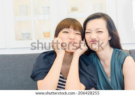 Best friends in the restaurant. - stock photo