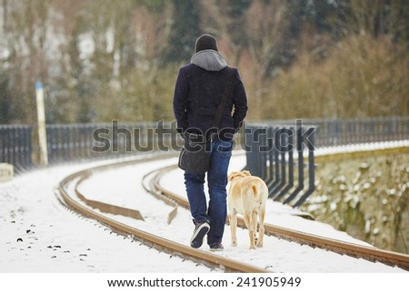 Best friends - man with his dog - stock photo