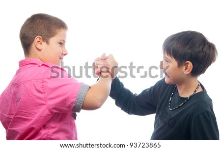 Best friends shaking hands isolated on white