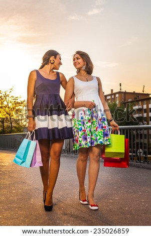 Best Friends Two young woman shopping - stock photo