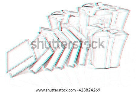 Best gift - a good book. 3d render. Pencil drawing. 3D illustration. Anaglyph. View with red/cyan glasses to see in 3D. - stock photo