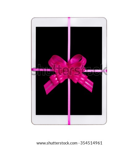 Best Gift for the holidays tablet with a bow - stock photo