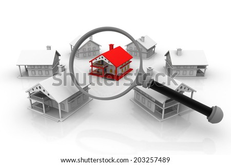 Best House search, real estate concept 		 - stock photo