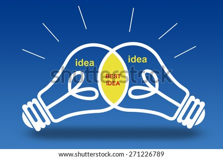 best idea light bulbs concept. - stock photo