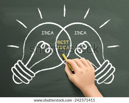 best idea light bulbs concept drawn by hand over chalkboard  - stock photo