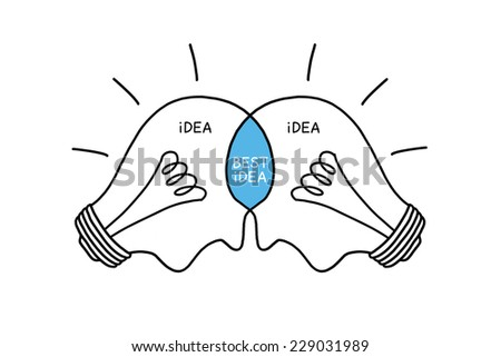 Best Idea light bulbs concept hand drawn with black marker on white. Teamwork makes the best ideas. - stock photo