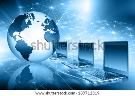 Best Internet Concept of global business from concepts series. Globe and range of laptops.