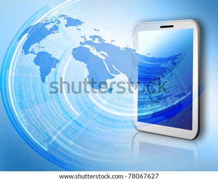 Best Internet Concept of global business from concepts series. Touch pad or Tablet PC - stock photo