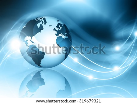 Best Internet Concept of global business. Globe and glowing lines on technological background. Electronics, Wi-Fi, rays, symbols of the Internet, television, mobile and satellite communications