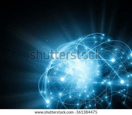 Best Internet Concept of global business. Globe, glowing lines on technological background. Electronics, Wi-Fi, rays, symbols Internet, television, mobile and satellite communications - stock photo