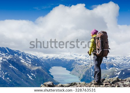 Best Norway hike. Besseggen Ridge. Yotunheimen national park - stock photo
