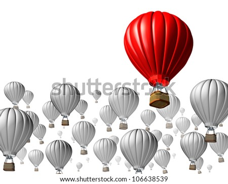 Best of breed concept with a red hot air balloon rising above and standing out from the rest against other grey flying vehicles on a white background as an icon of business and financial success. - stock photo