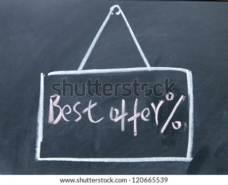 best offer board drawn with chalk on blackboard - stock photo