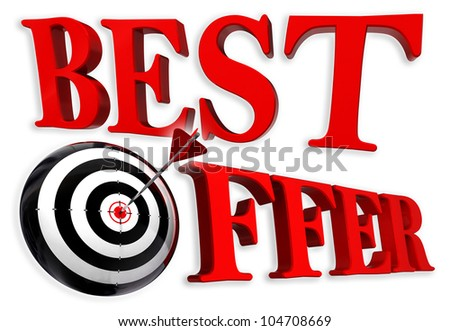 best offer red logo with conceptual target and arrow on white background