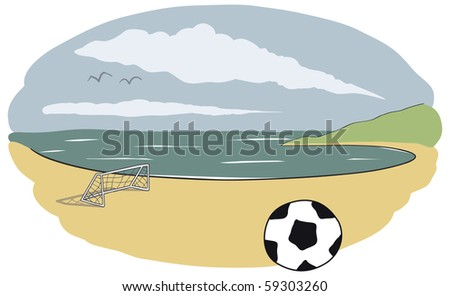 Best place in the world to relax and play some beach soccer. - stock photo