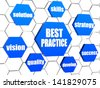 best practice and business concept words in 3d blue hexagons in cellular structure - stock