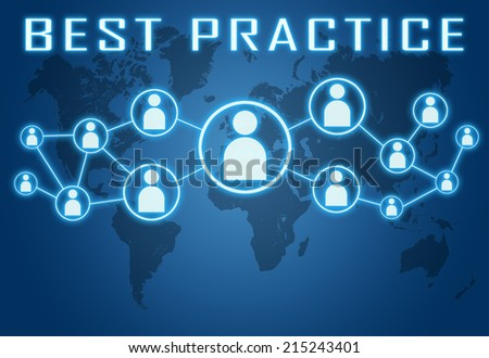 Best Practice concept on blue background with world map and social icons. - stock photo