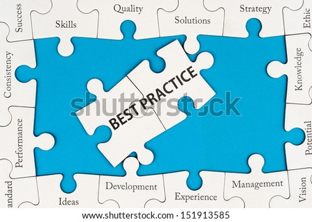 Best practice concept with group of jigsaw puzzles - stock photo