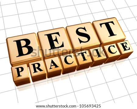 Best practice 3d golden boxes with black letters - stock photo