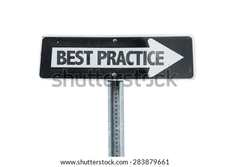 Best Practice direction sign isolated on white - stock photo