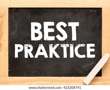 best practice inscription on blackboard background and chalk
