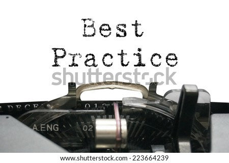 Best practice on typewriter - stock photo