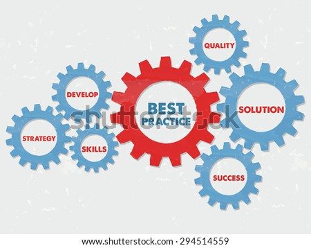 best practice, quality, solution, success, develop, strategy, skills - business professional concept words - red blue text in grunge flat design gear wheels - stock photo