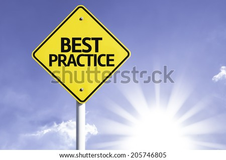 Best Practice road sign with sun background - stock photo