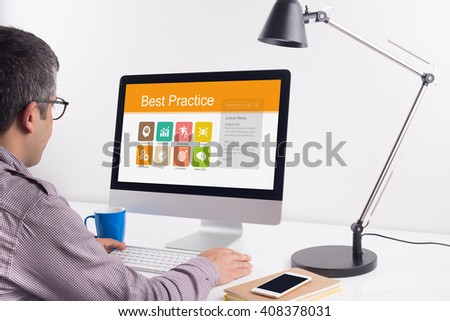 Best Practice screen on the workplace - stock photo