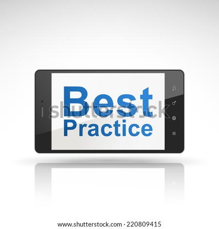 best practice words on mobile phone isolated on white - stock photo