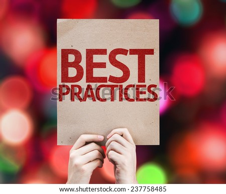 Best Practices card with colorful background with defocused lights - stock photo
