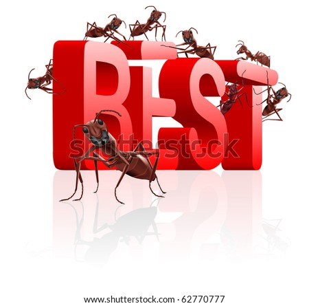 best price and top quality real winner better than the rest successful best icon or best button with ants building text in red letters - stock photo