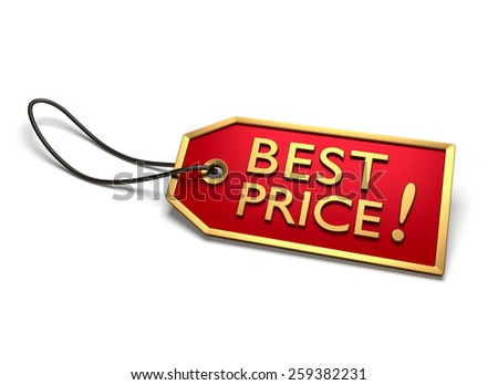 Best price badge. Red sticker with golden border and string attached, isolated on white - stock photo