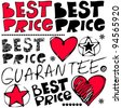best price crazy doodles isolated on white background - stock photo