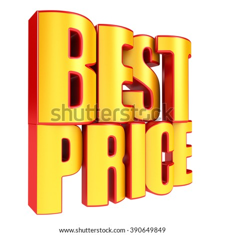 Best price 3d text in yellow letters isolated over white background