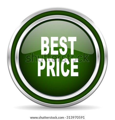 best price green glossy web icon modern design with double metallic silver border on white background with shadow for web and mobile app round internet original button for business usage  - stock photo
